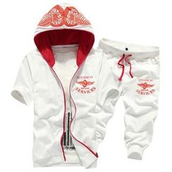 Bay Go Mall - Sports Set : Printed Hooded Short-Sleeve Jacket + Shorts