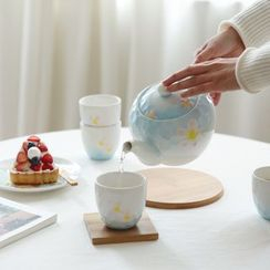 Kawa Simaya - Set: Floral Ceramic Teapot + Cup of 4