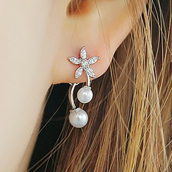 maxine - Rhinestone Flower Earrings