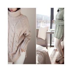 MASoeur - Turtle-Neck Cable-Knit Sweater