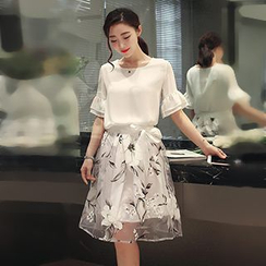 November Rain - Set : Frill Sleeve Chiffon Top + Floral Organza Skirt