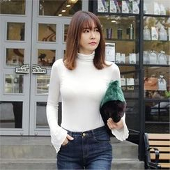 Picapica - Turtle-Neck Flared-Sleeve Slim-Fit Top
