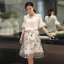 November Rain - Set : Frill Sleeve Chiffon Top + Floral Organza Skirt