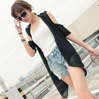 CUTIE FASHION - Cutaway-Shoulder Studded Chiffon Jacket