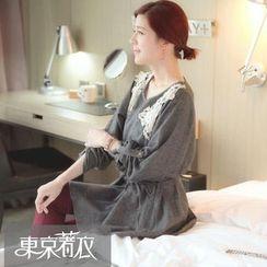 Tokyo Fashion - Lace-Trim Tie-Waist Tunic