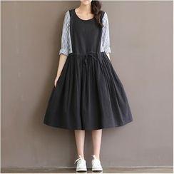 Epoch - Long-Sleeve Mock Two Piece A-line Dress