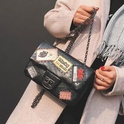薇薇 - 补丁刺绣链条带单肩包