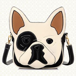 BeiBaoBao - Faux-Leather Dog-Pattern Cross Bag