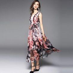Y:Q - Lace Insert Sleeveless Maxi Dress
