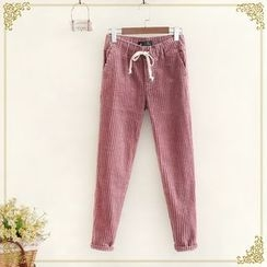 Fairyland - Drawstring Waist Corduroy Pants