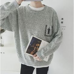 优凡士品 - 印花口袋混色毛衣