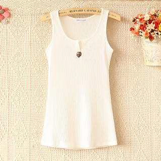 Ringnor - Owl-Accent Ribbed Tank Top