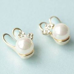 Bmuse - Rabbit Faux Pearl Earrings / Clip On Earrings