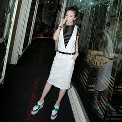 Loveloha - Set: V-neck Midi Jumper Skirt + Striped T-Shirt