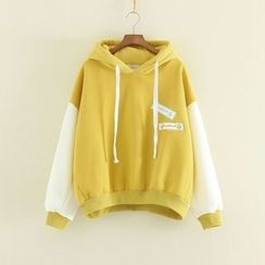 Mushi - Applique Panel Fleece-lined Hoodie