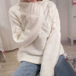 YUKISHU - Plain Cable Knit Sweater