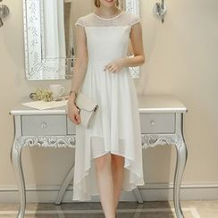 Q.C.T - Sleeveless Asymmetric Midi Dress