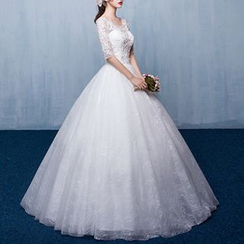 Luxury Style - Lace Appliqué Elbow-Sleeve Wedding Ball Gown