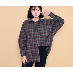 HOTPING - Loose-Fit Checked Shirt
