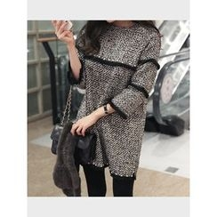 hellopeco - 3/4-Sleeve Slit-Side Dress