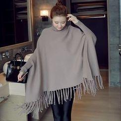 Munai - Turtleneck Fringe-Trim Long Sweater