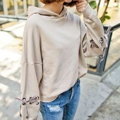 PPGIRL - Lace-Up Hooded Top