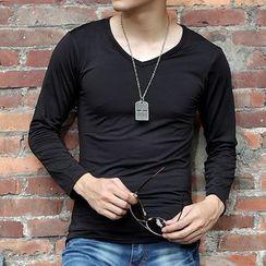 Bay Go Mall - V-neck Long-Sleeve T-shirt