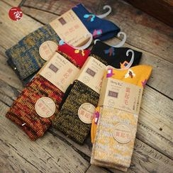 Socka - Furry-Lined Velvet Printed Socks