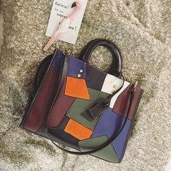 优尚良品 - 仿皮撞色手提包
