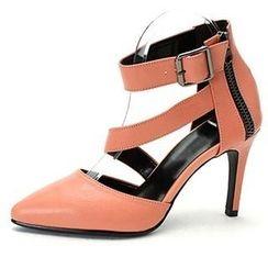 MODELSIS - Genuine Leather Strap Heels