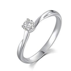 MaBelle - 18K/750 White Gold Diamond Solitaire Women Ring