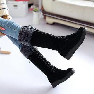 Pangmama - Platform Lace Up Tall Boots