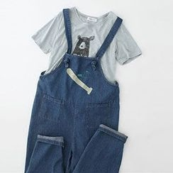 Meimei - Baseball Bat Embroidered Dungaree