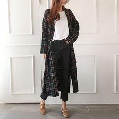 NIPONJJUYA - Collarless Fray-Edge Plaid Long Shirtdress