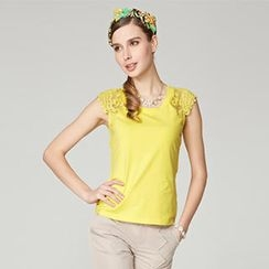 O.SA - Sleeveless Lace-Yoke Top