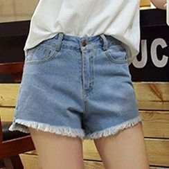 Isadora - Fray Hem Denim Shorts