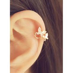 kitsch island - Rhinestone-Studded Butterfly Ear Cuff