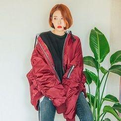 Seoul Fashion - Hooded Shirred Balloon-Sleeve Flight Jacket