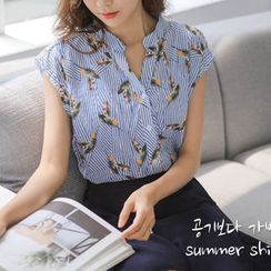 JUSTONE - Mandarin-Collar Cap-Sleeve Pattern Shirt