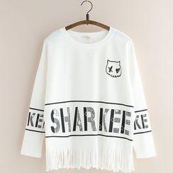 11.STREET - Fringe Hem Lettering Long Sleeve T-Shirt