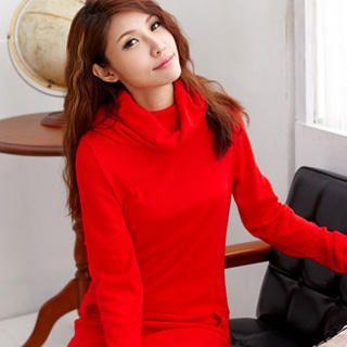 RingBear - Long-Sleeve Cowl-Neck Knit Dress