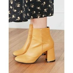 FROMBEGINNING - Zip-Up Faux-Leather Ankle Boots