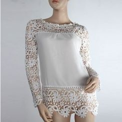 Onayaya - Long-Sleeve Lace Chiffon Blouse