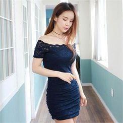clubber - 露肩蕾絲塑身連衣裙