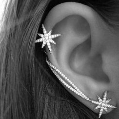 Nanazi Jewelry - 925 Sterling Silver Asymmetrical Star Earrings