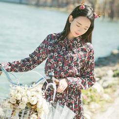 Sens Collection - Floral Print Long Sleeve Midi Dress