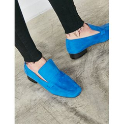 FROMBEGINNING - Faux-Suede Square-Toe Loafers