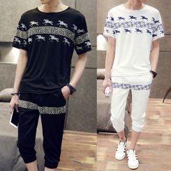 Danjieshi - Set: Print T-Shirt + Cropped Sweatpants