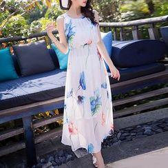 Isadora - Floral Print Sleeveless Maxi Chiffon Dress