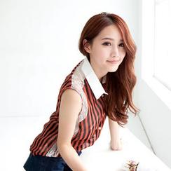 Tokyo Fashion - Lace-Panel Striped Sleeveless Blouse